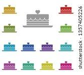 heart cake multi color icon....