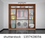 laundry in the pantry. washer... | Shutterstock . vector #1357428056