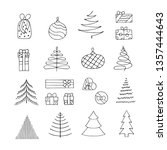 set of hand drawn christmas... | Shutterstock .eps vector #1357444643