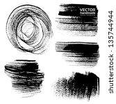 abstract black brush strokes on ... | Shutterstock .eps vector #135744944