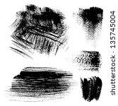 black textured brush strokes on ... | Shutterstock .eps vector #135745004