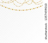 gold beads on a white... | Shutterstock .eps vector #1357459010