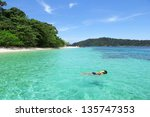 the island is forest green. and ... | Shutterstock . vector #135747353