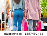 girl friends shopping for... | Shutterstock . vector #1357492463