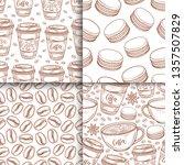 coffee cups  beans  mugs ... | Shutterstock .eps vector #1357507829