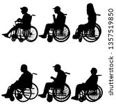 silhouettes disabled in a wheel ... | Shutterstock .eps vector #1357519850
