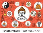 buddhism religion signs and... | Shutterstock .eps vector #1357560770