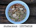 noodles with pork and vegetables in thailand style - stock photo