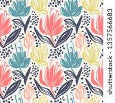 vector seamless floral pattern... | Shutterstock .eps vector #1357566683