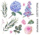 watercolor vintage set floral... | Shutterstock . vector #1357571996