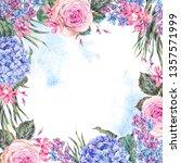 watercolor vintage floral... | Shutterstock . vector #1357571999
