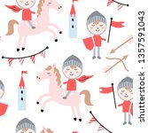 childish seamless pattern with... | Shutterstock .eps vector #1357591043