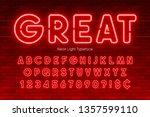 neon light alphabet  extra... | Shutterstock .eps vector #1357599110