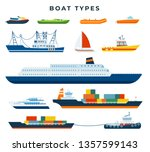 Boat And Ship Types  Set. Water ...