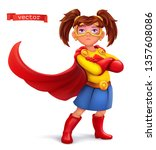 little girl in superhero... | Shutterstock .eps vector #1357608086