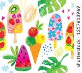 hand drawn doodle ice cream... | Shutterstock .eps vector #1357613969