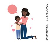 woman with son and speech... | Shutterstock .eps vector #1357620929
