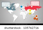 world map with markers   eps 10 ...   Shutterstock .eps vector #135762716