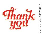 thank you hand lettering ... | Shutterstock .eps vector #135763916
