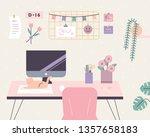 my desk feels like spring. flat ... | Shutterstock .eps vector #1357658183