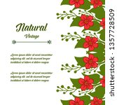 vintage red flower natural art... | Shutterstock .eps vector #1357728509