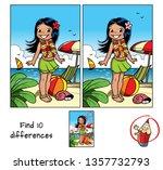 little hula girl at the beach... | Shutterstock .eps vector #1357732793