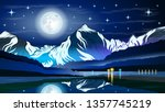 high mountains and calm lake... | Shutterstock .eps vector #1357745219