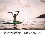 travel asian woman with bikini... | Shutterstock . vector #1357756700