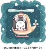 cute little rabbit flying in...   Shutterstock .eps vector #1357789439