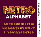 retro light bulb alphabet font. ... | Shutterstock .eps vector #1357789550