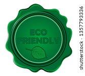 eco friendly green wax seal on...   Shutterstock . vector #1357793336