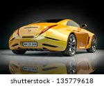 Yellow Sports Car. Non Branded...