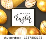 black lettering happy easter on ... | Shutterstock .eps vector #1357803173