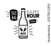 happy hour label with beer... | Shutterstock .eps vector #1357811303