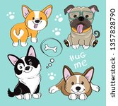 cute dog collection on a blue...   Shutterstock .eps vector #1357828790