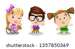 set of physically challenged ... | Shutterstock .eps vector #1357850369