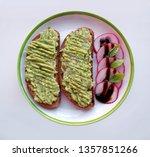 sliced radish and guacamole... | Shutterstock . vector #1357851266