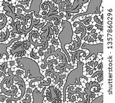 Cat Damask Lace Seamless Vector ...