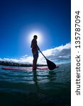 stand up paddle boarder... | Shutterstock . vector #135787094
