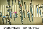 aerial. crowd of people on... | Shutterstock . vector #1357871969