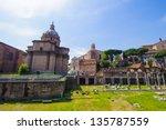actual view of the roman forum    Shutterstock . vector #135787559