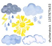 A Set Of Watercolor Weather...
