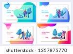 gardener planting tree and bush ...   Shutterstock .eps vector #1357875770