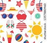 summer beach pattern for... | Shutterstock .eps vector #1357880960