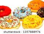 sweet tasty donuts with... | Shutterstock . vector #1357888976
