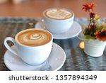 hot caramel macchiato and latte ... | Shutterstock . vector #1357894349