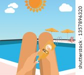 young girl sunbathes on a beach ... | Shutterstock .eps vector #1357896320