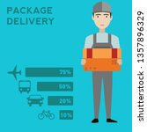 man postal delivery courier man ... | Shutterstock .eps vector #1357896329