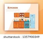 kitchen interior banner with... | Shutterstock .eps vector #1357900349