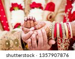 groom holding hand wedding day  | Shutterstock . vector #1357907876